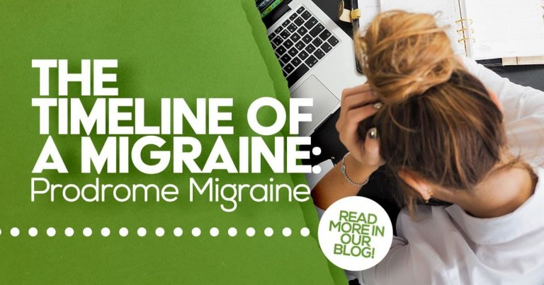 The timeline of a migraine, prodrome migraine, migraine research, woman on laptop, head in hand
