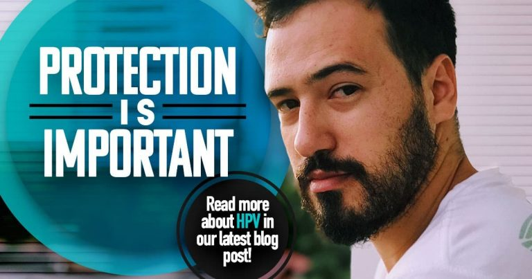 Protection is important, read more about HPV in our latest blog, Clinical research, male with beard looking diredtly