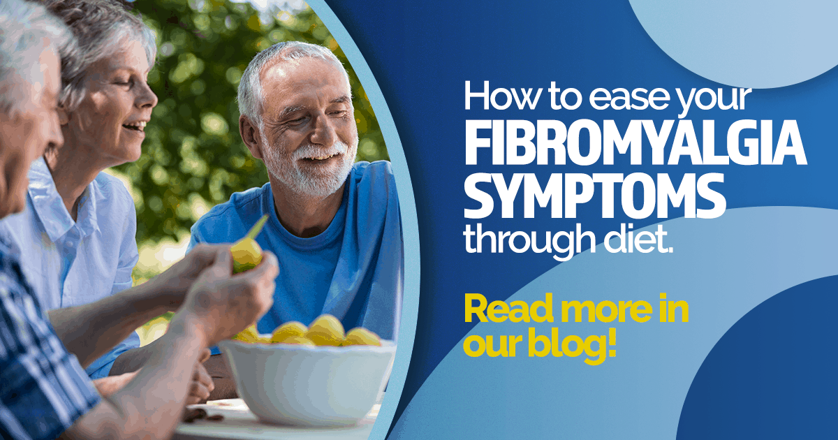 Three older people with a bowl of healthy fruit, how to ease fibromyalgia symptoms through diet, clinical research