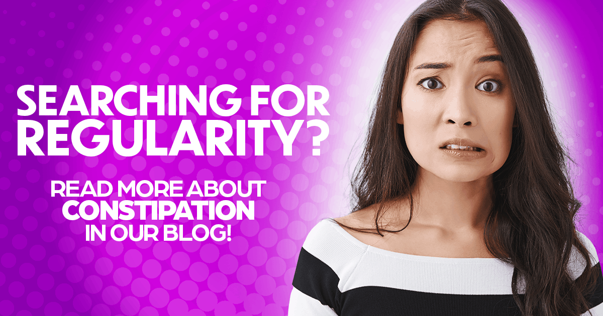 Searching for regularity? Learn more about constipation relief in our blog! Woman with long hair with concern on her face, constipation research